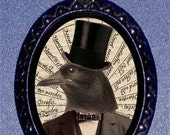 Crow Man Necklace Raven in Top Hat Surreal Victorian Steampunk Inspired Pendant Necklace NEW