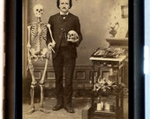 Edgar Allan Poe with Skull and Skeleton Cigarette Case Victorian Medical Oddity Goth Author ID Business Card Credit Card Holder Wallet