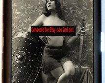 Nude Female Knight Cigarette Case Business Card Holder Wallet Erotica Erotic Risque Woman with Sword and Shield Warrior