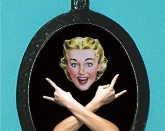 Cheerful Housewife Necklace Makes Heavy Metal Hand Sign and Rocks Parody Spoof Kitsch Retro Pendant Necklace
