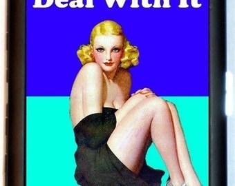 Deal with it Cigarette Case ID Holder Wallet Business Card Case Pinup Pin Up Rockabilly Retro Humor Spoof