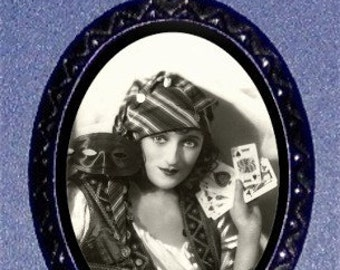 Gypsy Queen Pendant necklace Card Reader Mystical Pinup Fortune Teller Mystical Mystic Occult Pin Up PINUP