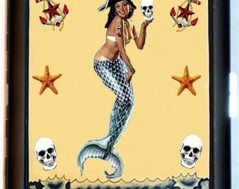 Pirate Mermaid Cigarette Case Wallet or Business Card case Sexy sea wench