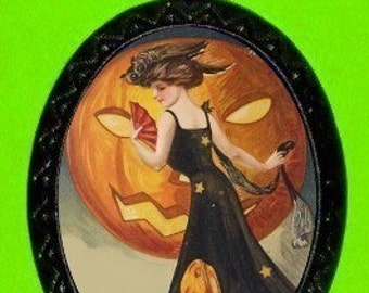 Vintage Halloween Necklace Victorian Woman with Pumpkin Pendant Classic Carved Pumpkin Moon