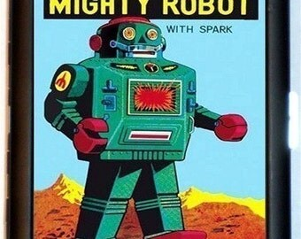 Mighty Robot Cigarette Case Toy Robots Kitsch Retro Sci Fi Science Fiction Steampunk ID Business Card Credit Card Holder Wallet
