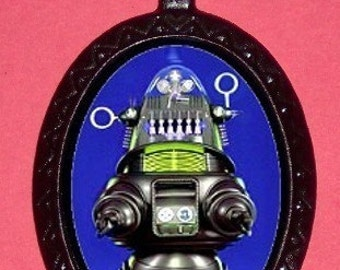 Vintage Blue Robot Necklace Pendant PUNK Rock Emo ATOMIC Age Cool Hip Toy Japanese Tin Robot.