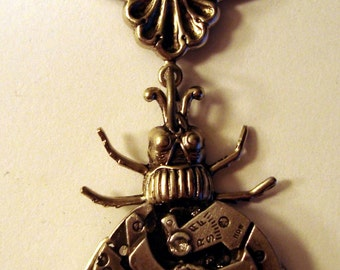 Victorian Steampunk Necklace THE MECHANICAL INSECT Watch Part Bug Pendant Style One