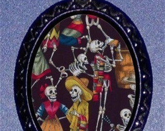 Day of the Dead Necklace Los Muertos Follk Art Pendant Necklace Dancing Skeletons