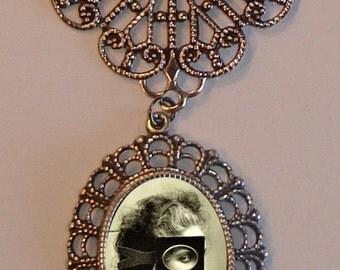 Beautiful Victorian MASKED WOMAN Victorian Silver-Tone Filigree Necklace Pendant
