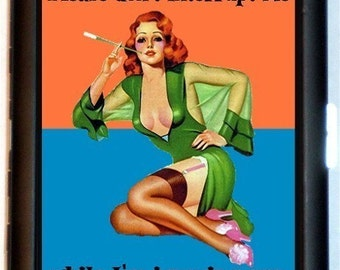 Please Don't Interrupt Me while I'm Ignoring You Cigarette Case Business Card Holder Wallet Retro Pulp Pinup Humorous