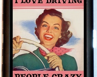 I Love Driving People Crazy Cigarette Case or Business Card Case Wallet Retro Kitsch