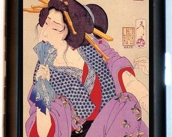Geisha Getting Tattoo Cigarette Case Id Case Business Card Holder Wallet Japanese Woodblock