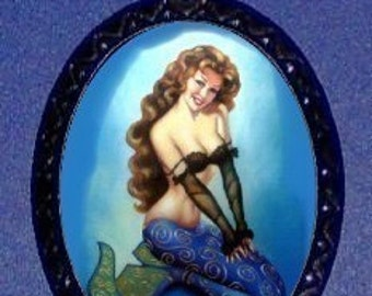 Mermaid Pinup Necklace Pendant Sexy Classic Mermaid Girl Pin Up