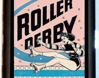 Roller Derby Cigarette Case Vintage Retro Ad Roller Skating Skaters Skate Derby Wife ID Business Card Credit Card Holder Wallet