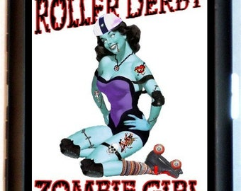 Roller Derby Zombie Cigarette Case Pin-Up Zombie Roller Skating Pinup Derby Wife Skates ID Business Card Credit Card Holder Wallet