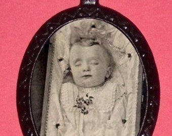 Postmortem Dead Baby Victorian Haunting Imagery Pendant Necklace Sleeping Beauty Sad Haunted