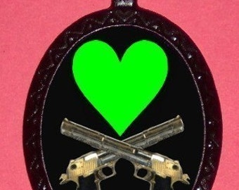 Green Heart Crossed Guns Necklace Pendant PUNK Rock Psychobilly Jolly Rogers