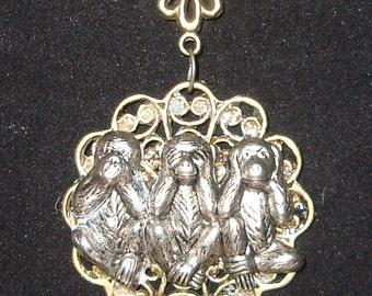 Victorian Steampunk Necklace Monkey See No Hear No Speak No Evil Ignorant Bliss