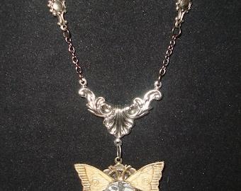 Victorian Steampunk Necklace Clockwork Butterfly Pendant Gears Watch Parts