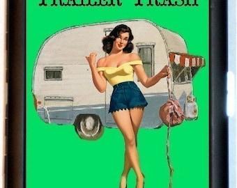 Trailer Trash Cigarette Case Business Card Wallet Pinup Girl Pinup Hillbilly Hoyden White Trash Kitsch Rockabilly Hitchhiking Hitchhiker