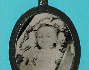 Post Mortem Victorian Child Pendant Necklace Creepy Gothic GOTH Morbid Disturbing Tragic Sad