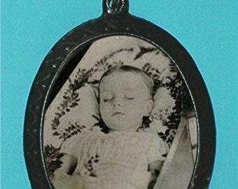 Post Mortem Victorian Child Pendant Necklace Creepy Gothic GOTH Morbid Disturbing Tragic Sad