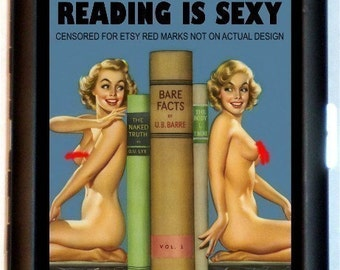 Reading is Sexy Cigarette Case Pin-Up Girl Nerd Pin Up Pinup Nudes Readers Book Lovers ID Business Card Credit Card Holder Wallet