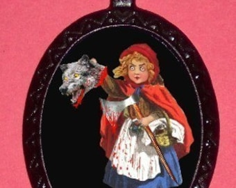 Little Red Riding Hood Necklace Demented design Slaying big bad wold with axe Pendant Necklace