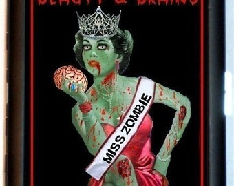 Miss ZOMBIE Cigarette Case or Business Card or MP3 Case Wallet Queen Psychobilly Beauty and Brains Gothic Horror Kitsch