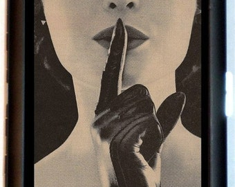 Whispering Woman Cigarette Case Strange Weird Retro 1950's Glam Photography ID Business Card Credit Card Holder Wallet
