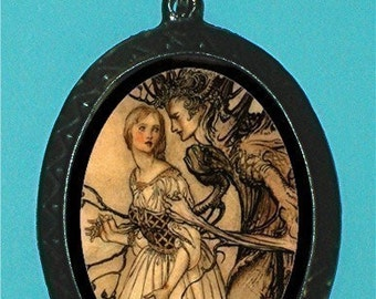 Beautiful Woman and Tree Man Illustration Necklace Pendant New Surreal Fairytale Fairy Tale Strange odd Story