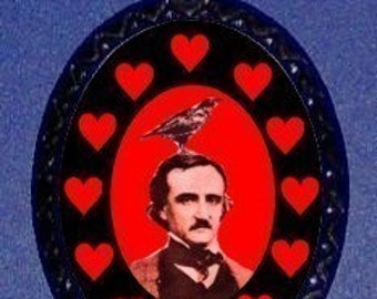Edgar Allan Poe w Raven Red Hearts Necklace Gothic Goth Writer Horror Macabre Pendant