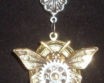 Victorian Steampunk Necklace Mechanical Emergence Insect Gears Butterfly