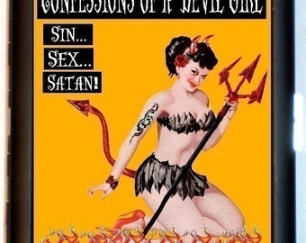 Saucy Confessions of a Devil Girl Cigarette Case Business Card Case Wallet Pin Up Pinup Rockabilly Tattoo Halloween