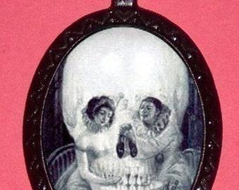 SKULL Illusion Necklace Victorian Era Pendant Illusion Art Retro Victorian Goth Horror