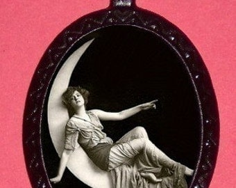 Victorian Moon Lady Necklace Edwardian Whimsical Pendant Necklace