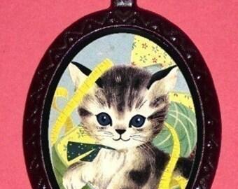 Pity Kitty Big Eyed Cat Necklace Super Cute Kitty Cat Kawaii Retro Fun Pendant Necklace