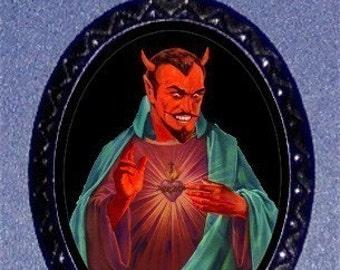 Devil as a Saint Necklace Psychobilly Horror Satan Lucifer Pendant Church of Satan Occult Lowbrow Art