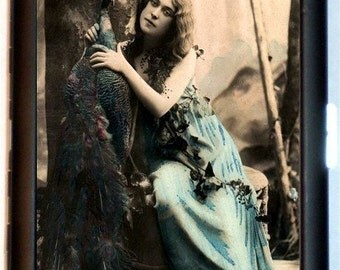 Edwardian Woman With Peacock Cigarette Case Wallet Business Card Case in Forest Whimsical Art Nouveau