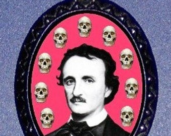 Edgar Allan Poe with Skulls Pendant & Necklace PUNK Rock Emo Gothic Horror author Goth