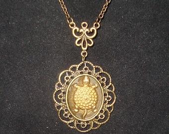 Brass Victorian Turtle God Necklace Elegant New
