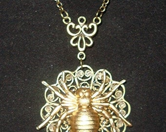 The Spider's Web Victorian Steampunk Horror Gothic Brass Necklace New by Sweetheartsinner