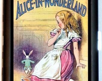 Alice in Wonderland Cigarette Case Storybook Lewis Carroll White Rabbit Illustration Art ID Business Card Credit Card Holder Wallet