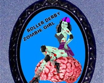 Roller Derby Zombie Necklace on brains Roller Skates Skating Pendant Necklace NEW
