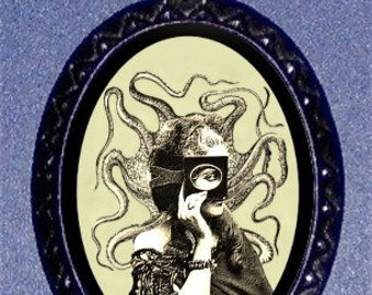 Masked Octopus Woman Necklace Victorian Steampunk H.P. Lovecraft Inspired Pendant Necklace NEW
