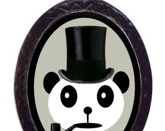 Dapper Panda Necklace Bear Kawaii Kitsch Panda Top Hat and Pipe Pendant Necklace Victorian Steampunk