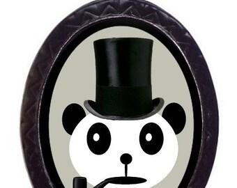 Dapper Panda Necklace Bear Kawaii Kitsch Panda Top Hat and Pipe Pendant Necklace Victorian Steampunk