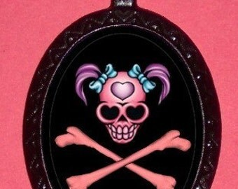 Punk Princess Girlie Skull and Crossbones Pendant Necklace Rocker Gothic