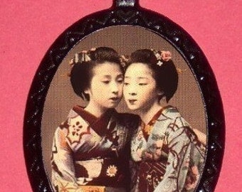 Japanese Geisha Twins Necklace Pendant Japan Surreal Bizarre Best Friends