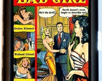 Bad Girl Comic Book Cigarette Case or Wallet or MP3 and Earbuds Holder Case